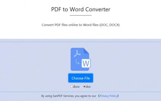 Comment convertir des fichiers PDF en fichiers Word (DOC, DOCX) avec Sanpdf?