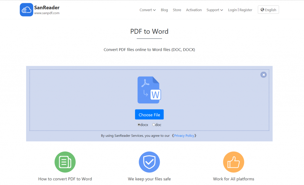 Simple online conversion tool that can convert PDF to Word