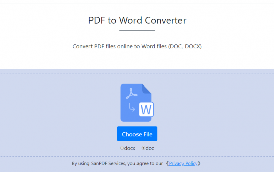 SanPDF Online helps you solve the problem of PDF to Word
