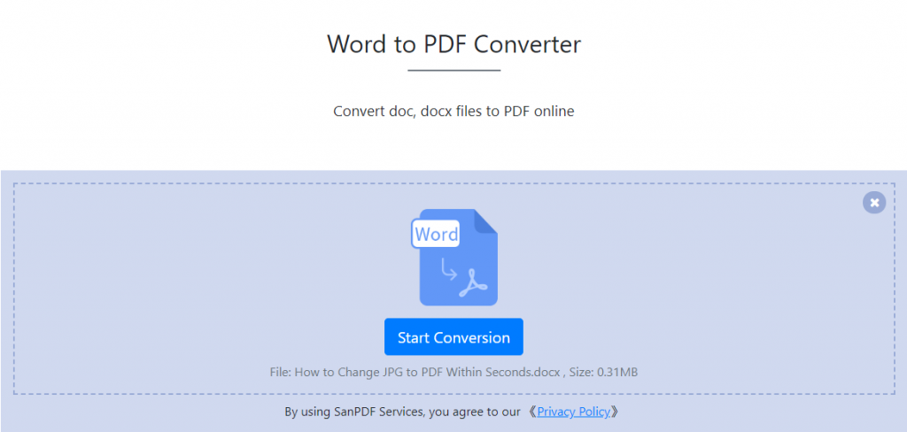 SanPDF online to help you solve the problem of Word to PDF