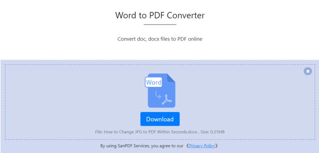 SanPDF online to help you solve the problem of Word to PDF – SanPDF