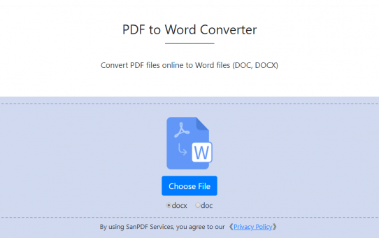 San PDF Converter, easy to get online San PDF to Microsoft Office Word (.doc, .docx)