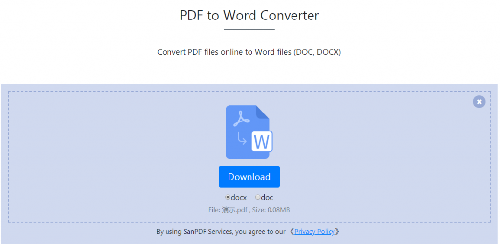 Microsoft office Word(.docx,.doc) document into a Adobe PDF ;download